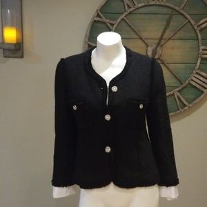 Zara black tweed jacket with crystal buttons